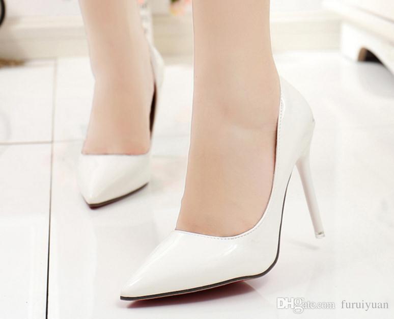 Бесплатно отправить горячие 2018 новый стиль тонкой пятки пятки высокие туфли острым концом один Обувь женская свадебная обувь