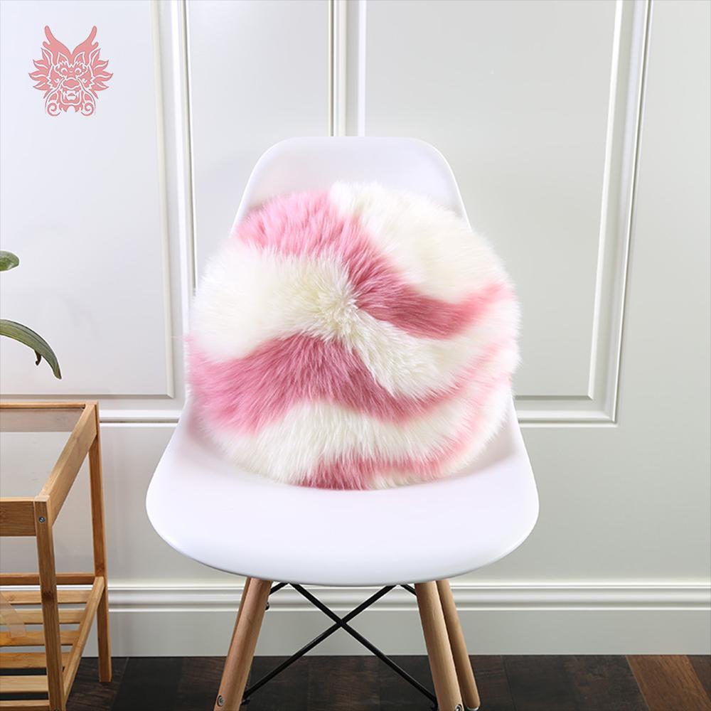 Automne hiver en cuir véritable peau de mouton en peau de mouton en peluche peluche en laine ronde chaise canapé coussins oreillers coussin D-40cm SP5455