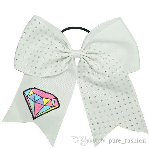 """NEW ARRIVAL Unicorn Hair Bows 7""""Cheerleading Rhinestone Bling Cheer Bows With Elastic Band Embroidered Unicorn Ponytail Bow For Girls 5PCS"""