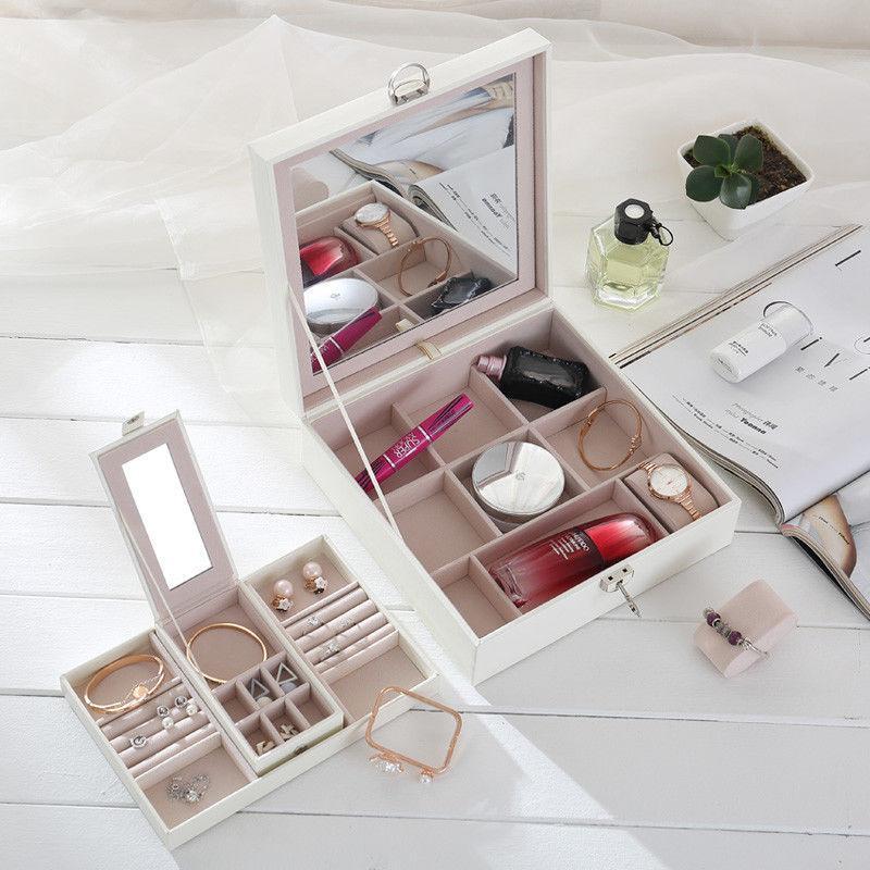 Portable wood jewelry sunglasses watch makeup storage box box mirror lock 1pcs