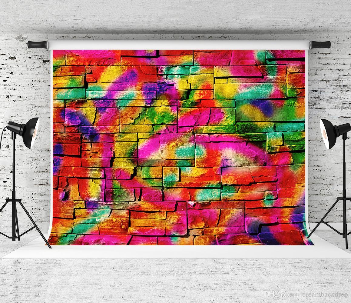 Sogno 7x5ft Colorful Graffiti Fotografia Sfondo Hip Hop Decorazioni per feste Foto Sfondo muro di mattoni per bambini Sparare Fondali Studio
