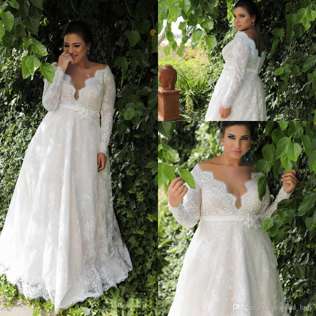Discount Garden A Line Empire Waist Lace Plus Size Wedding Dresses With Long Sleeves 2018 V Neck Country Outdoor Bridal Wedding Gown Aline Wedding Dresses Anthropologie Wedding Dresses From Graceful Lady 145 73 Dhgate Com,Fashionable Lace Dress Styles For Wedding Guest