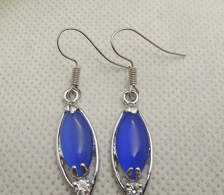 Pendientes genuinos de Opal Sapphire Blue Fashion Mujer Pendientes