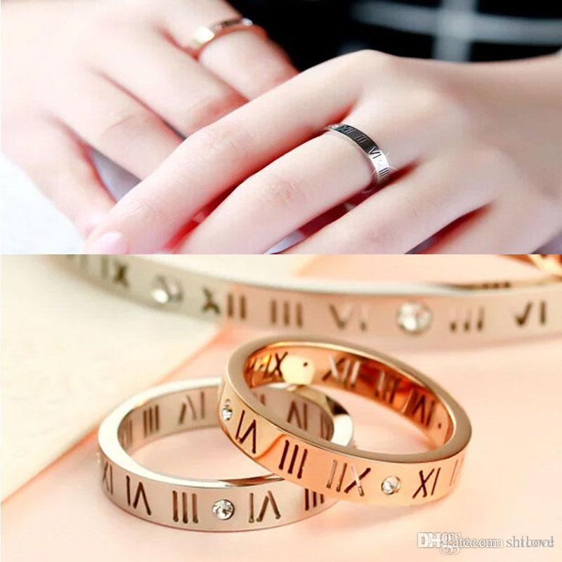 Titanium Steel Rhinestone Roman Numerals Women's Ring - Fashion Jewelry Elegant Lucky Lady Rings - Gold Silver Color (US Size 4 -10)
