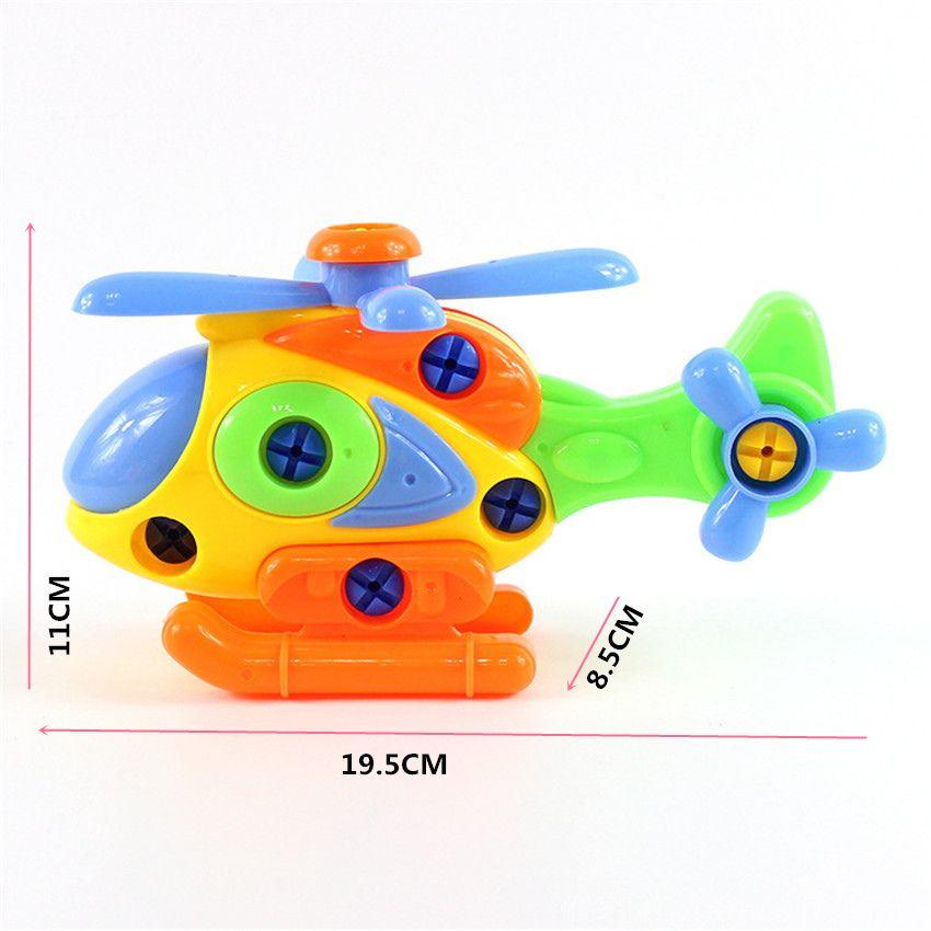 1 pcs Colorido Simulação Helicóptero Modelo Desmontagem Assemblage Brinquedos Forma Irregular De Plástico ABS Brinquedo Educacional Precoce