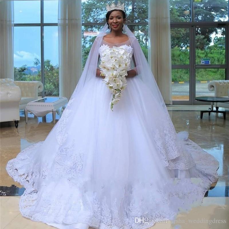 African Plus Size Brautkleider Mit Sheer Neck 3/4 Long Sleeves Brautkleider Zählen Zug Spitze Appliques Land Günstige Brautkleid