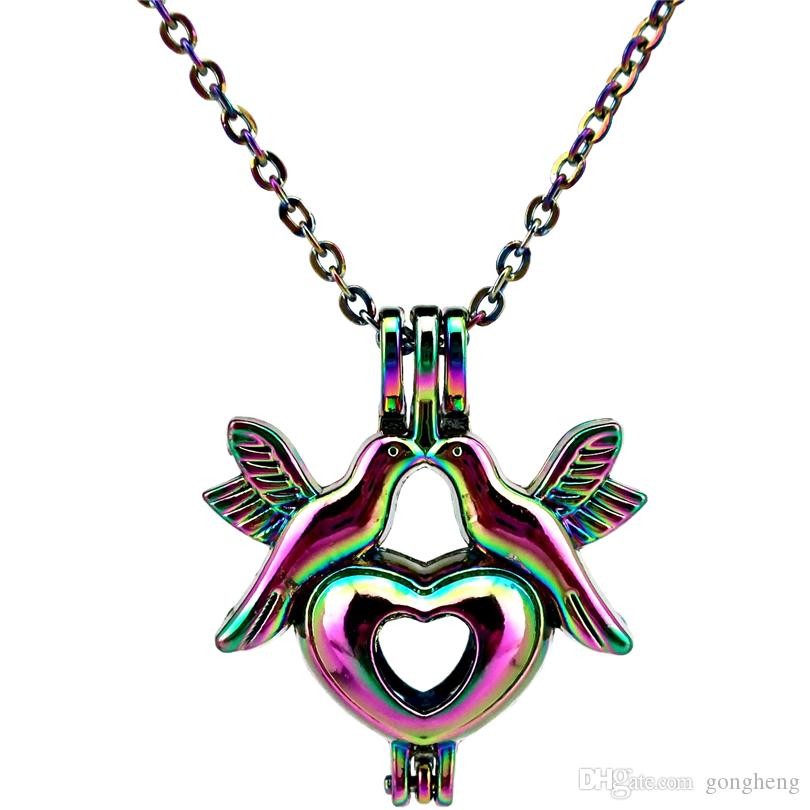 """C663 Rainbow Color Heart Lovebirds Pearl Beads Cage Locket Pendant Wedding Necklace 18""""- Luck Gift Essential Oils Diffuser"""
