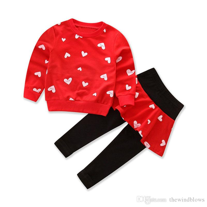 Girls Clothing Sets 2018 Spring Autumn Toddler Clothes Sets Children Costume Love Print Sweatshirts+skirt Leggings Suit