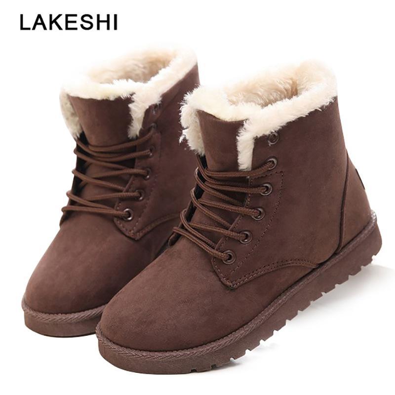 Großhandel Frauen Stiefel Schnee Warme Winterstiefel Frauen Schuhe Schnüren Fell Stiefeletten Damen Winter Schuhe Schwarz Von Prosperoot, $21.71 Auf