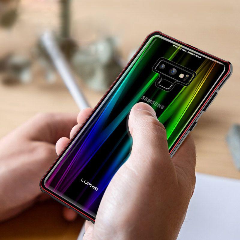 Custodia in metallo magnetica con lucentezza laser Aurora per Samsung Galaxy Note 9 Coque per custodia in galassia Note9 s per caso Samsung Note 9