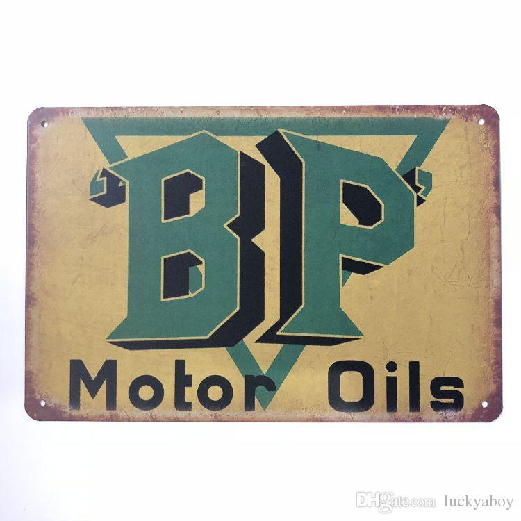 Nuevo diseño BP Motor Aceites Vintage Rústico Decoración para el Hogar Bar Pub Hotel Restaurante Cafetería hogar Decorativo Metal Retro Metal Cartel de chapa