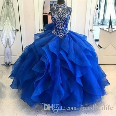 Vestido Debutante Branco Linda Royal Blue Quinceanera Vestidos Lace Up Saia Puffy Vestido De Baile De Gola Alta 2018 Baile De Máscaras Vestidos De 15
