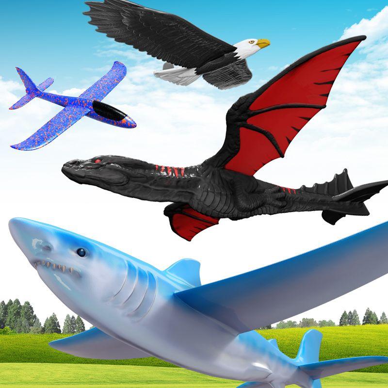 إطلاق اليد رمي الطائرات الشراعية بالقصور الذاتي رغوة المنزلق القرش النسر يطير التنين نموذج في الرياضة تحلق لعبة للأطفال هدية