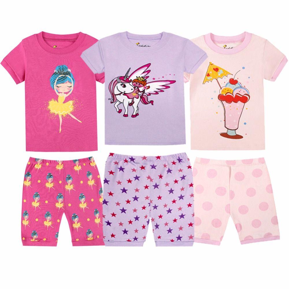 100 Хлопок Летние Детские Девушки Пижамы наборы Дети Пижама Pijamas Infantis Girl Pajama Наборы Pijama Infantil Pajamas Детские мальчики PJS