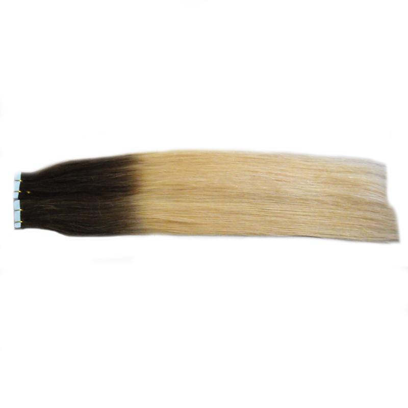 NOVA 7A virgem não transformados cabelo prata ombre 100g 40 pcs T2 / 613 Fita Extensões Da Pele Trama adesiva Extensões de fita em ombre