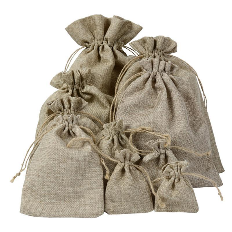 50 Pcs 10x14cm Drawstrings Jewelry Gift Burlap Pouches Bags Sacks for Candy DIY Craft Christmas Wedding Favor (Flaxen)