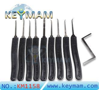 Alta KLOM Qualidade 9 em 1 de aço inoxidável gancho de bloqueio Escolha ferramenta Set serralheiro bloqueio Opener destravar a porta