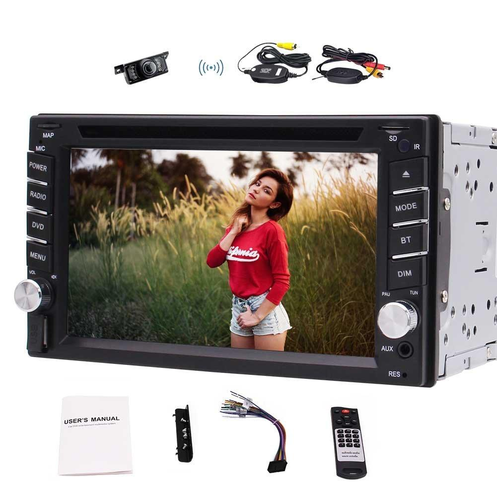 더블 2Din 자동차 Autoradio 스테레오 6.2 ''자동차 DVD CD 플레이어 MP3 MP4 USB AM FM 라디오 스티어링 휠 제어 블루투스 AUX 서브 우퍼