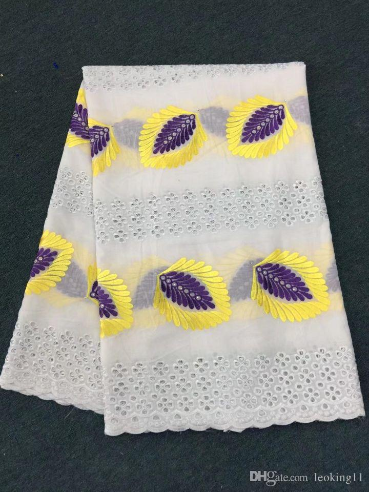 5 Yards/pc Beautiful white african cotton fabric with purple and yellow flower swiss voile lace embroidery for clothes BC11-5