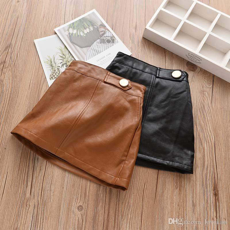 Fashion Autumn Winter new Korean Girls Skirts Pu leather Children Skirt Boutique Girl Clothes kids shorts A-lineskirt kids clothing A1931