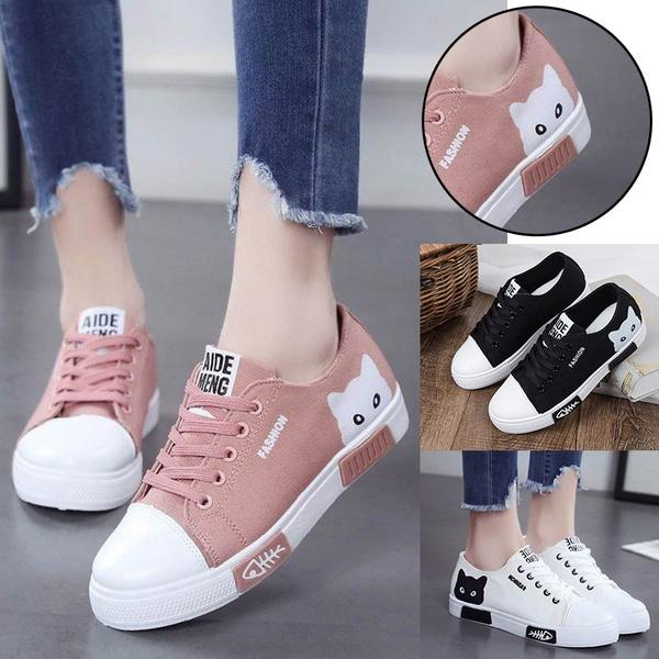 8b9487af5b7 Women Flat Cartoon Canvas Shoes 2018 New Summer White Lace Up Student Board  Shoes Ladies Casual Shoes Female Sneakers Womens Shoes Cheap Shoes From ...