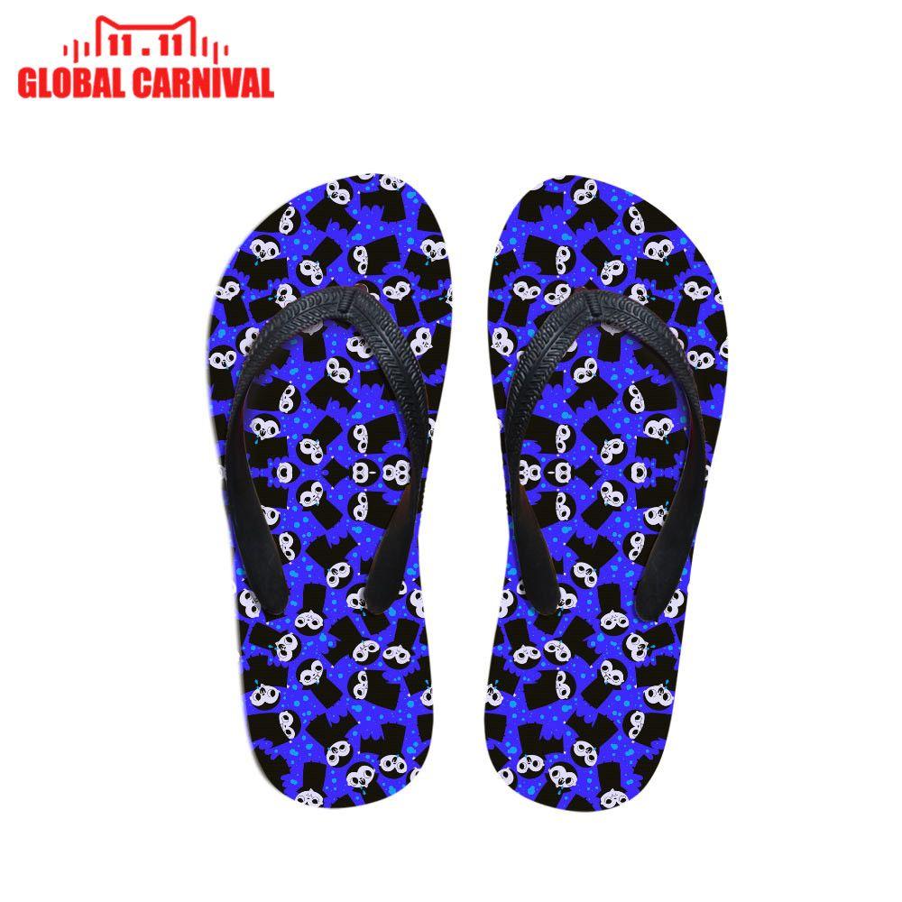Vente en gros Femmes Casual Tongs Vampire Tissu Bleu imprimer cadeau de Noël Beach Slipper pour Ladies Flats Flip Flops