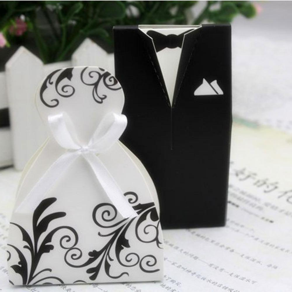 100pcs Gift Box Wedding Favor Candy Box Bride & Groom Dress Tuxedo Ribbon Gift Bag Candy Packaging Package Paper Boxes 50+50