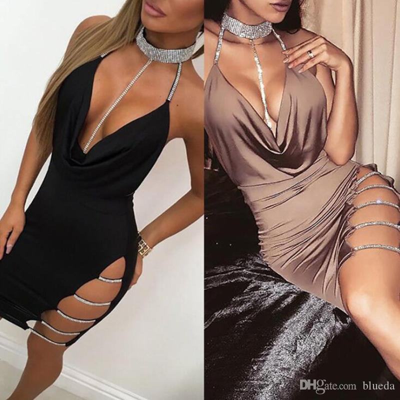 Hollow out sequins party dresses women fashion halter bodycon backless dress for women summer night club female sheath dress free shipping