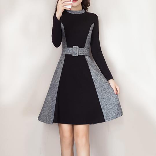 Compre Vestido De Lana Patchwork Otoño Invierno 2018 Vestidos Elegantes Para Mujer Con Cinturón Casual De Manga Larga Una Línea De Vestido De Mujer