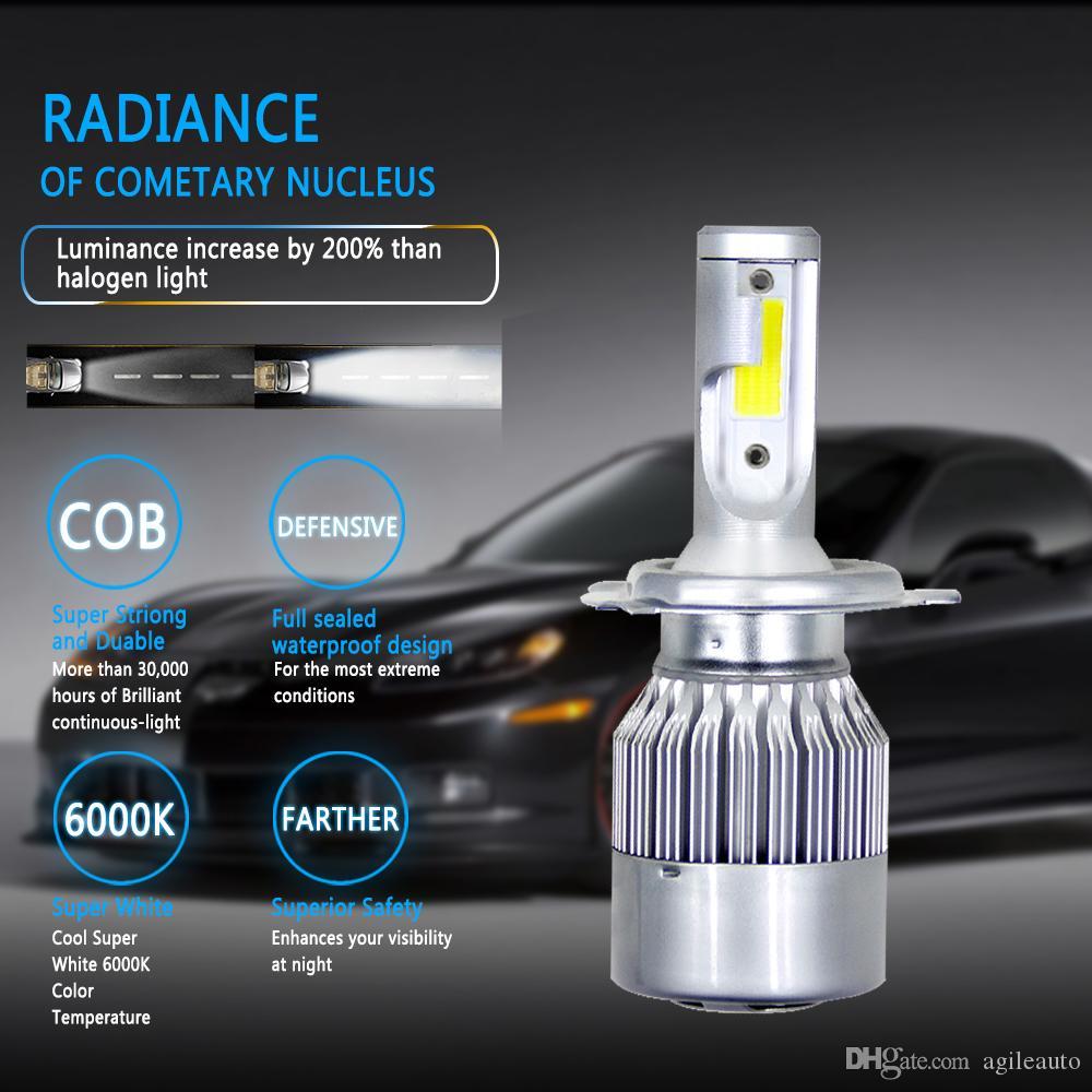 2Pcs COB H4 C6 10800LM 120W LED Car Headlight Kit Hi//Lo Turbo Light Bulbs 6000K