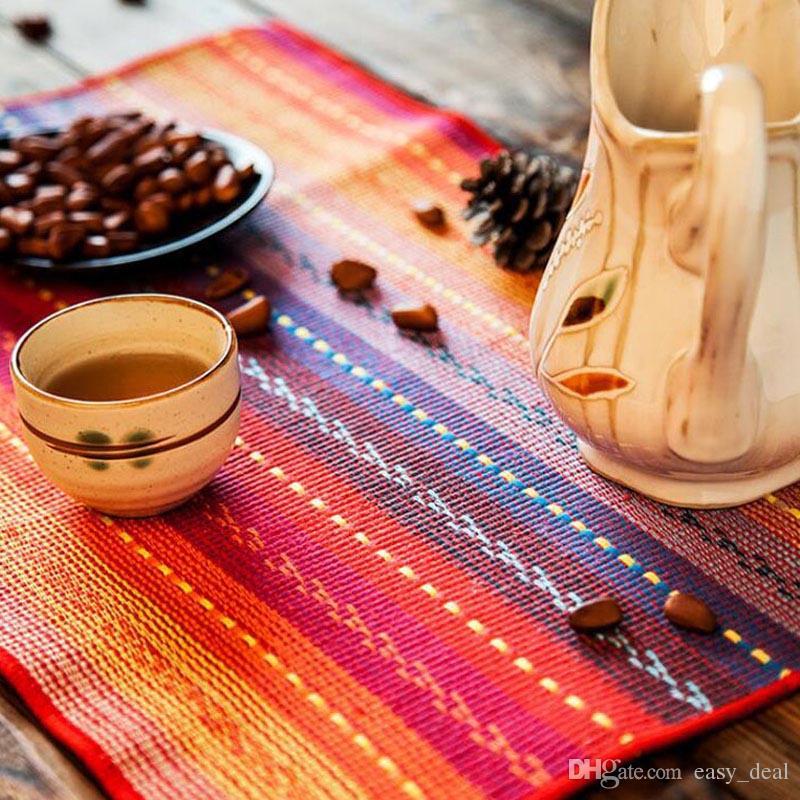 30*45 см красочные таблицы мат мода чистой полосой стол коврик Коврик хлопок Pad подставки диск колодки обеденный стол коврик ZA6230