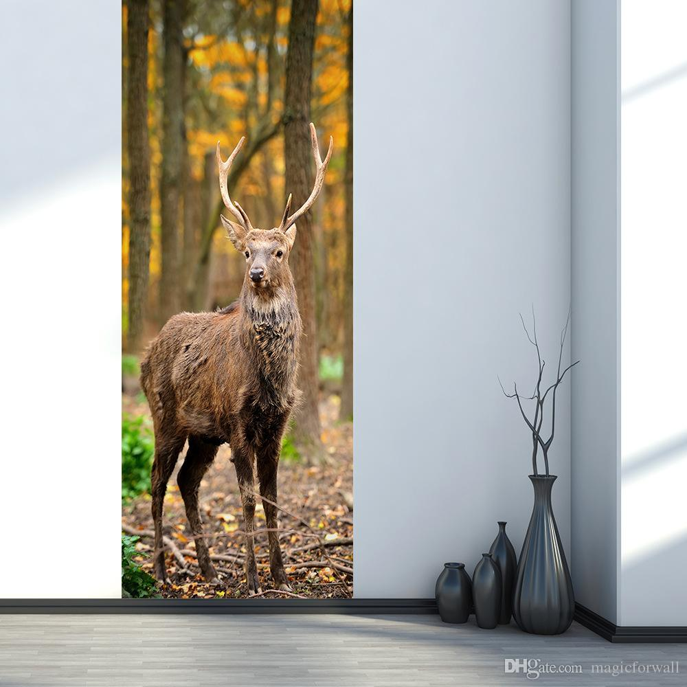 3D Simulation Door Sticker Elk Deer in Woods Wall Decal Living Room Bedroom Creative Wallpaper Self-adhesive Waterproof Renovate Door Poster