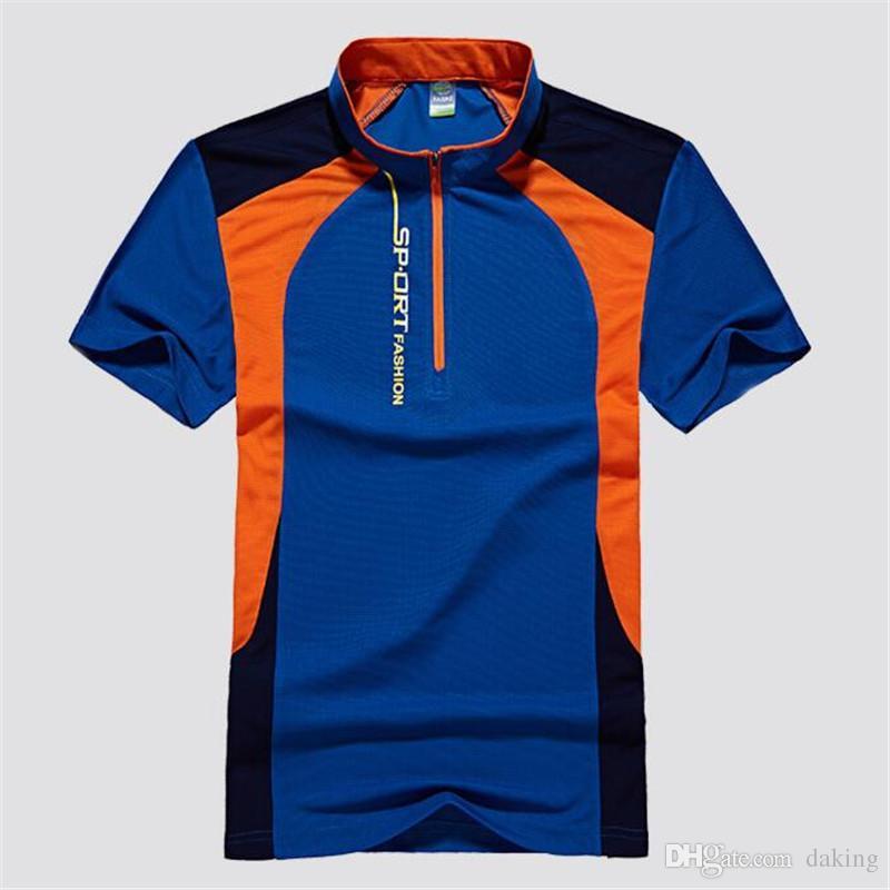 Europa Russland Stattliche Jugend Blau Grün Patchwork-T-Shirts der Männer beiläufige Sport elastische dünne schnell trocknend Tops Stehkragen Reißverschluss Tees Shirts