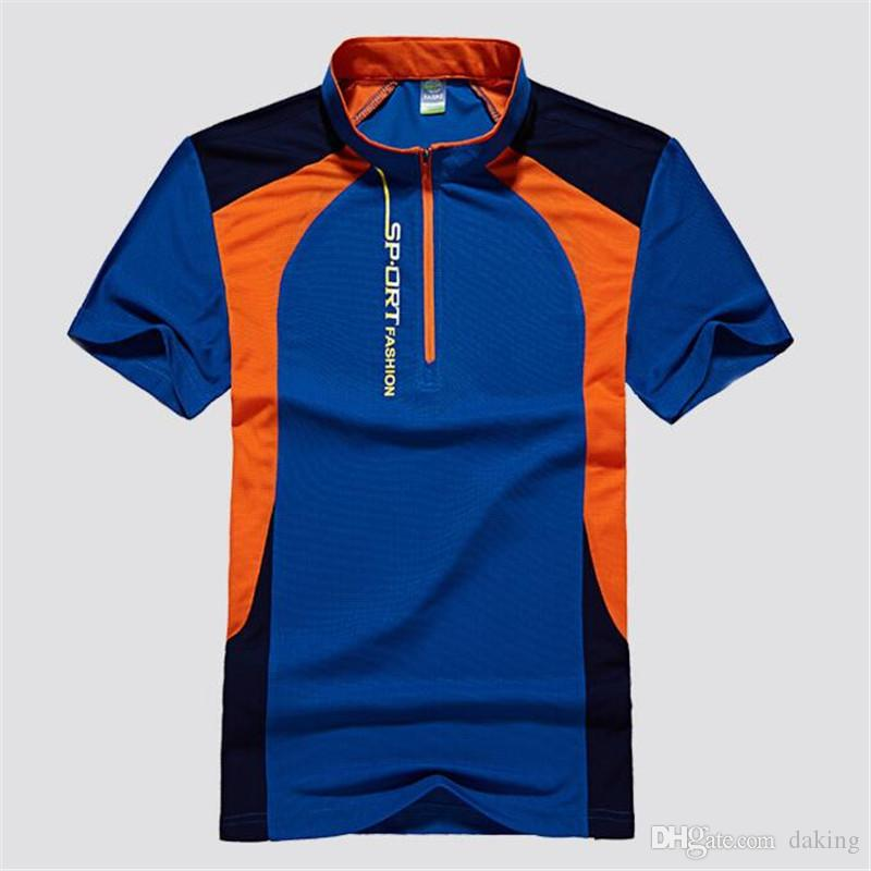 Europe Russie Bleu beau jeune homme patchwork vert T-shirts hommes casual sport élastique mince séchage rapide T-shirts Tops fermeture à glissière col mao chemises
