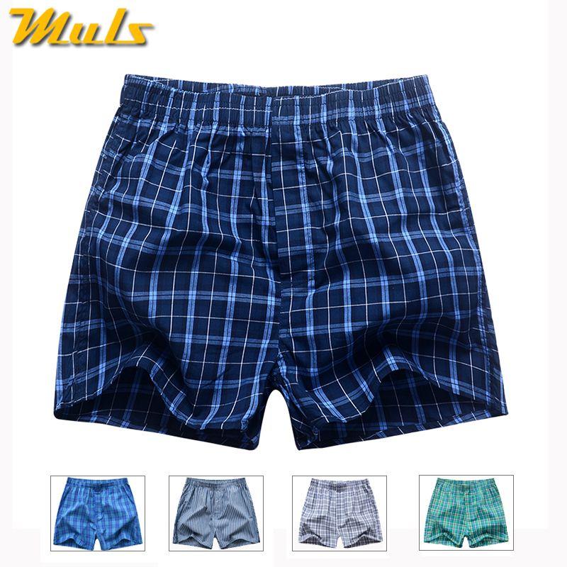 Boxers Short men breathable underwear High quality plaid Mens under pant Cotton mens bodysuit European Russian size 3XL B01