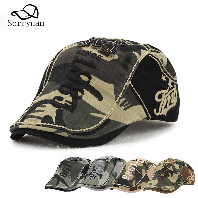 High Quality Camouflage Beret Cotton Cap outdoor For Men and Women Embroidery Letter Hat Adjustable Beret Cap