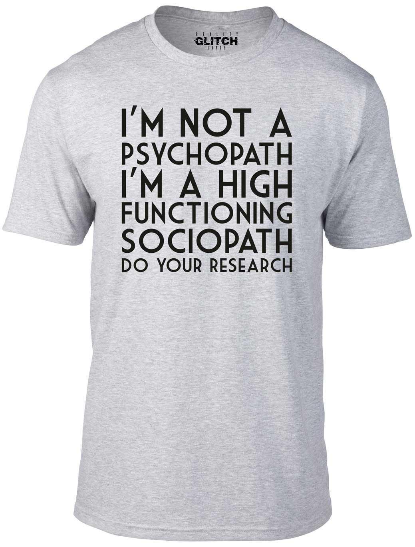 Sherlock Holmes Sociopath T-Shirt 100/% Cotton Psychopath Funny Humour
