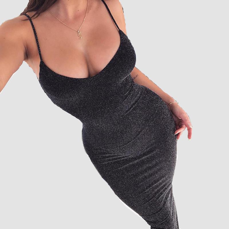 Colysmo Festa Sexy Midi Vestido Para As Mulheres Bodycon Brilhante V Neck Sem Mangas Backless Na Altura Do Joelho Vestidos de Verão 2018 vestidos