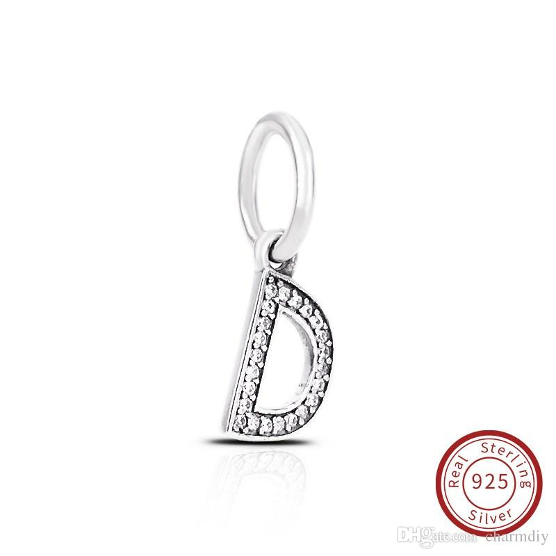 Letter D Authentic 925 Sterling Silver Jewelry Crystal A-Z Letter Pendant Charms Fit For Pandora Original Bracelet & Necklace791316CZ