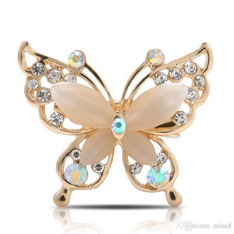 Мода Женщины Кристалл Rhinestone бабочки Брошь Pin ювелирных изделий Gold / Silver Plated 2 Цвет
