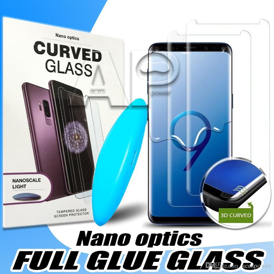 Vidro temperado UV para Samsung Galaxy S20 Ultra S10 Nota 20 Pro 10 9 S8 mais iPhone 11 Pro Max Full Liquid Glue