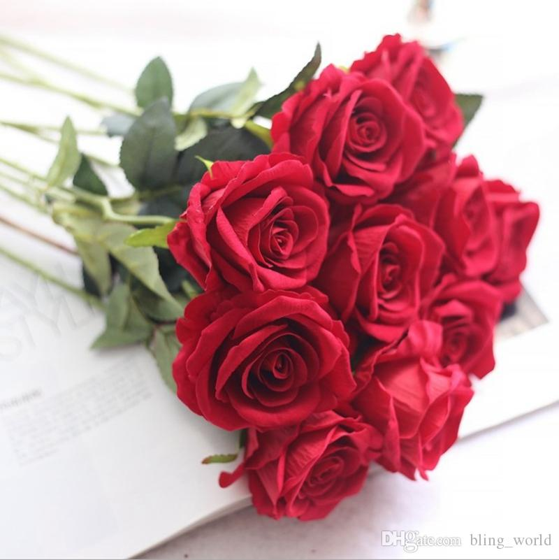 Декор Искусственный цветок розы Шелковые цветы Real сенсорный пион Marrige Декоративные цветочные свадебные украшения Рождество 13 цветов YW1063