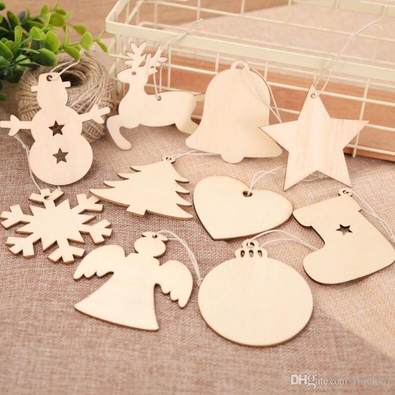 10 adet / takım Mini Noel Ahşap Kolye Ev Mağaza Noel Ağacı Çorap Kardan Adam Melek Kolye Süslemeleri Mix Sipariş