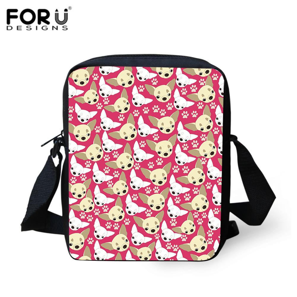 FORUDESIGNS Crossbody School Bag Cartoon Dogs Head Print Schoolbag Messenger Bags For Children Women Handbag Mini Beach Tote