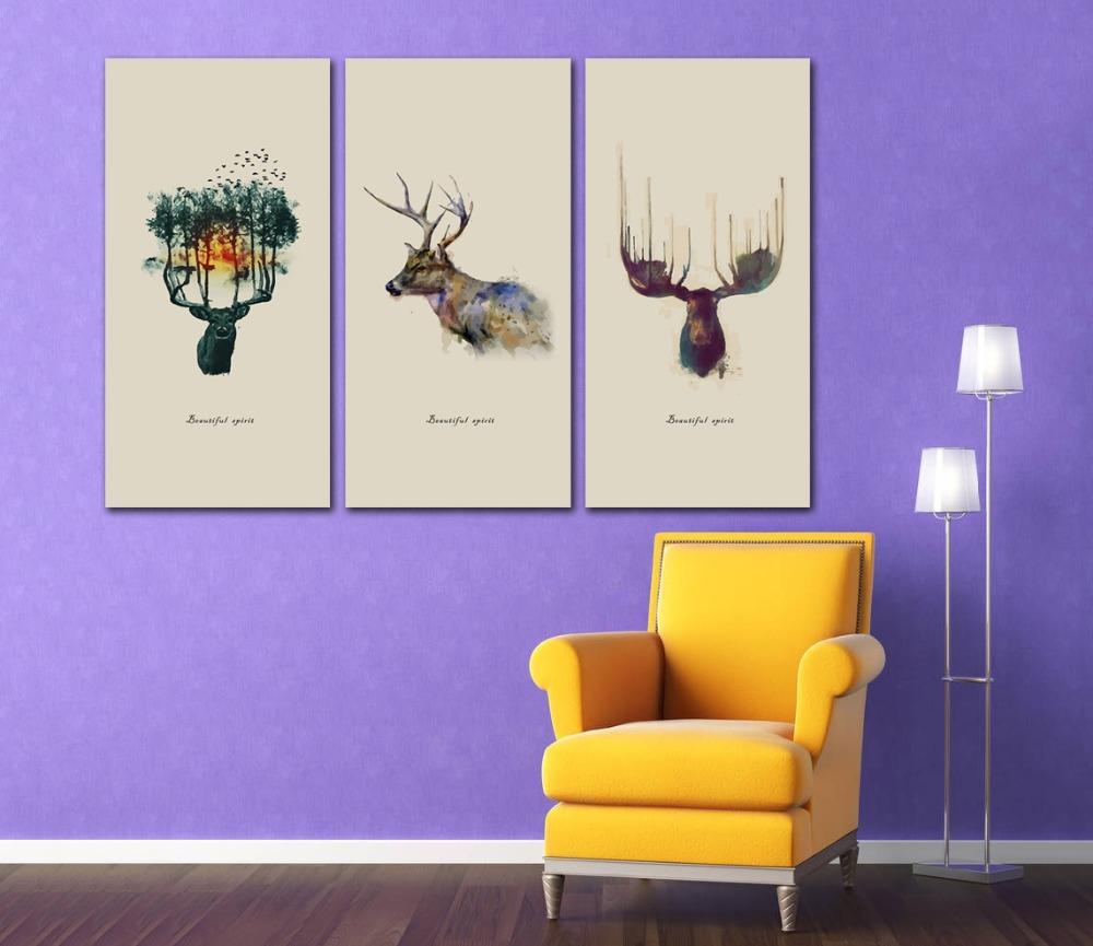 Senza telaio Dipinto ad acquerelli su tela astratta albero colorato cervi Opere Stampato poster Soggiorno Home Decor