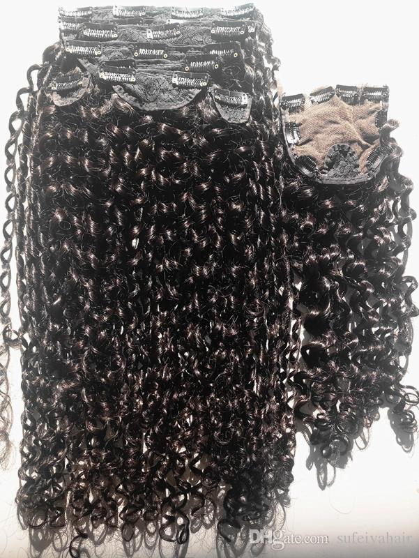New Arrive Curl Human Virgin Brazilian Hair Weft Clip In Human Hair Extensions Unprocessed Natural Black Color With closure