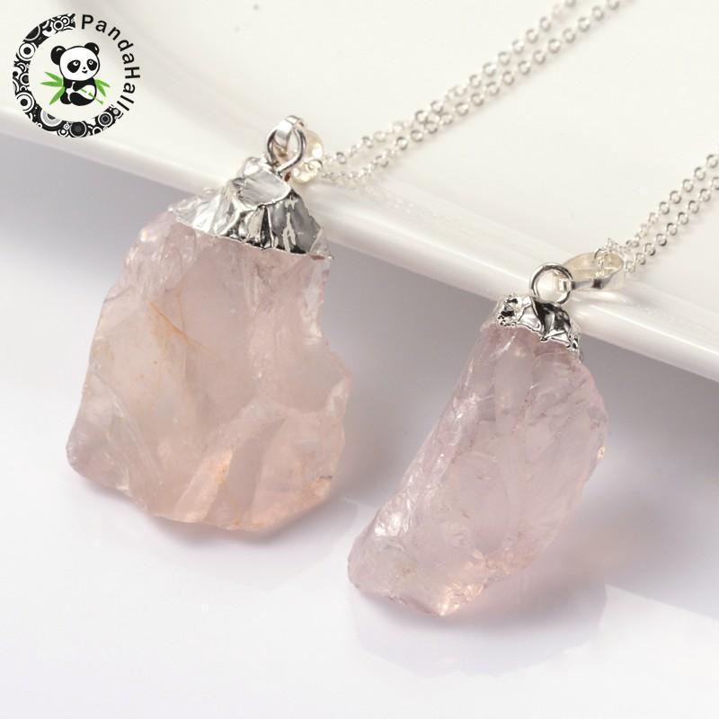 """естественно ободок сырой грубый камень RoseQuartz кулон ожерелья, с латунной цепочки и весенние застежками, 18"""""""