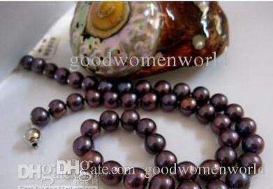 New Fine pearl jewellry 18' 9-10mm Black Purple Akoya Pearls Necklace 925S