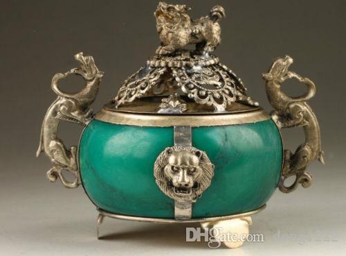 Colección Vintage Hecho a mano Viejo Tibet Silver Dragon Jade Incense Burner