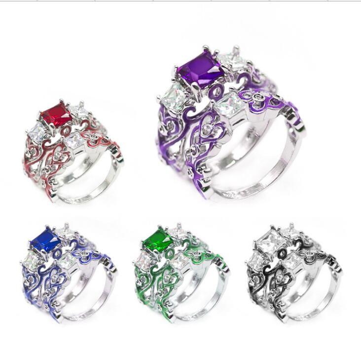 سيدة فاخرة الزركون مربع المرأة خاتم الفضة مطلي حار بيع حلقة مجموعة 1set = 2pcs